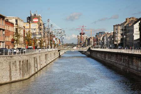 Embankment of channel in Brussels. Belgium