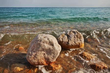 ein: Dead sea coast in Ein Gedi. Israel