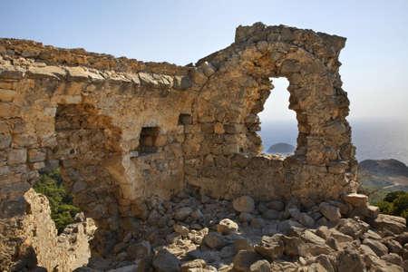 Ruins of Monolithos castle. Rhodes island. Greece