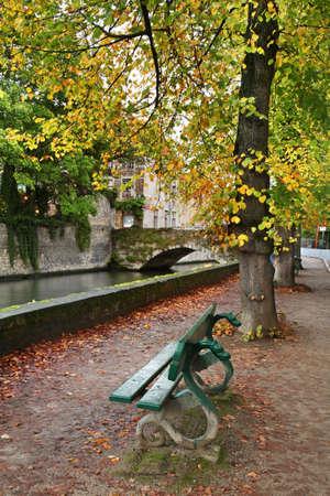 bruges: Embankment in Bruges. Flanders. Belgium