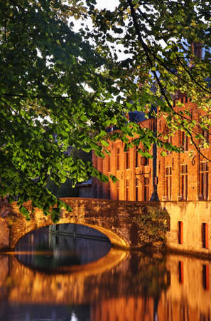 flanders: Canal in Bruges. Flanders. Belgium Stock Photo