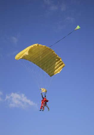 parachutists: Parachutists in Big Gryzlovo near Pushchino. Russia Stock Photo