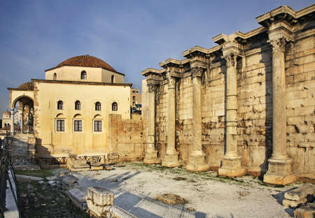 hadrian: Tzistarakis Mosque and Library of Hadrian in Athens. Greece Stock Photo