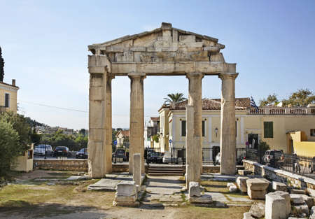 roman pillar: Roman Agora in Athens. Greece
