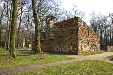 Ruins in Arkadia park. Lowicz county. Poland