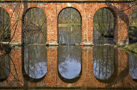 arkadia: Ruins of Aqueduct in Arkadia park. Lowicz county. Poland