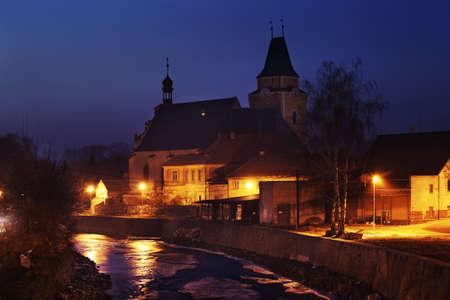 founding: Founding of Holy Cross church in Frydlant v Cechach. Czech Republic Stock Photo