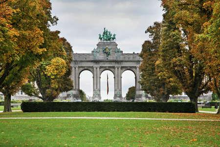 du: Triumphal arch in Parc du Cinquantenaire - Jubelpark. Brussels. Belgium Stock Photo