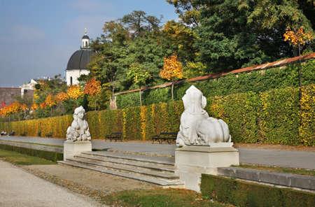 statuary garden: Belvedere Palace complex in Vienna. Austria