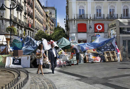 outcry: Barricade at Puerta del Sol - Gate of Sun square in Madrid. Spain