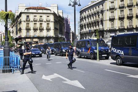 manifestation: Manifestation at Puerta del Sol - Gate of Sun square in Madrid. Spain