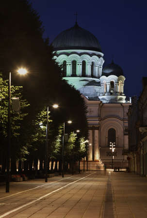 michael the archangel: Liberty boulevard and St. Michael Archangel church in Kaunas. Lithuania Stock Photo