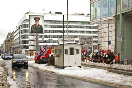 checkpoint: Checkpoint Charlie in Berlin. Germany