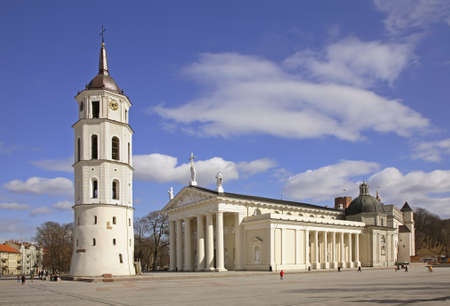 colonnade: Cathedral and bell tower in Vilnius. Lithuania