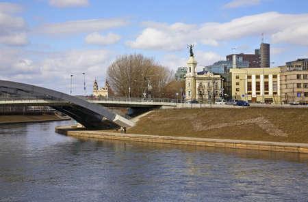 vilnius: Embankment of Neris river in Vilnius. Lithuania Stock Photo