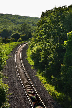 paysage: Railway near Povorino. Voronezh Oblast. Russia Stock Photo