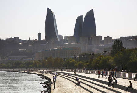 seafront: Seafront and Flame towers in Baku. Azerbaijan Editorial