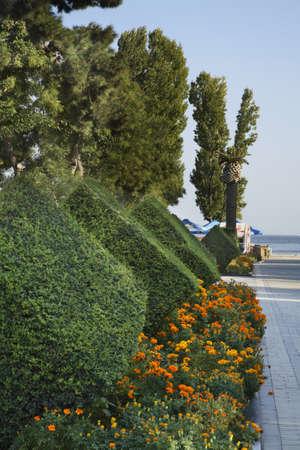 baku: Seafront in Baku. Azerbaijan Stock Photo
