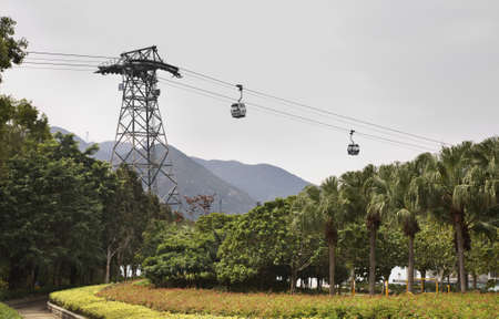 lantau: Cableway on Lantau island. Hong Kong. China Editorial