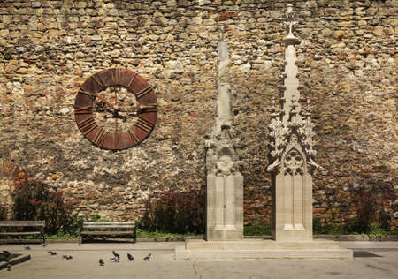 stephen: Old clock and fragment of Cathedral of St. Stephen in Zagreb. Croatia