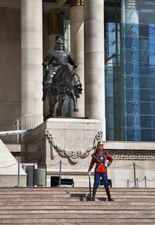 statuary: Guard of honor near Government Palace on Grand Chinggis Khaan square in Ulaanbaatar. Mongolia Editorial