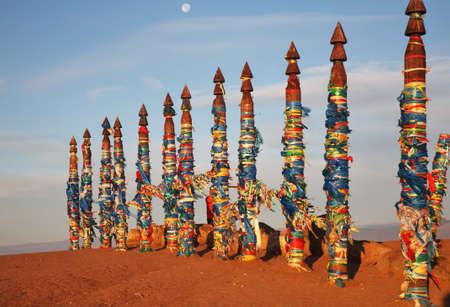 shamanic: Shamanic poles in Khuzhir. Olkhonsky district. Irkutsk oblast. Russia