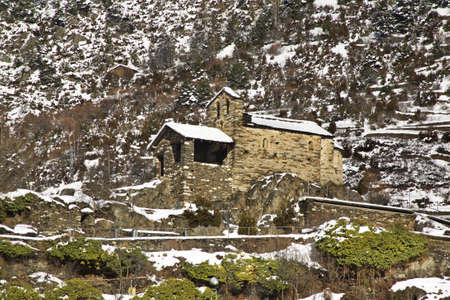principality: Sant Roma church in Encamp. Principality of Andorra Stock Photo