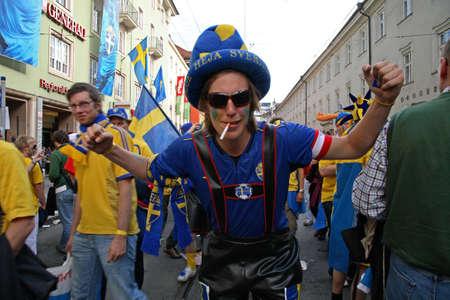 innsbruck: Fans before the football match Russia - Sweden. Innsbruck. Tyrol. Austria