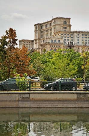 riverbank: Embankment of Dambovita River in Bucharest. Romania
