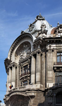 statuary: Old building in Bucharest. Romania Stock Photo