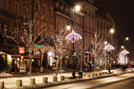 krakowskie przedmiescie: Holiday decorations of Warsaw. Krakow suburb - Krakowskie Przedmiescie street. Poland