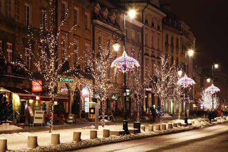 Holiday decorations of Warsaw. Krakow suburb - Krakowskie Przedmiescie street. Poland