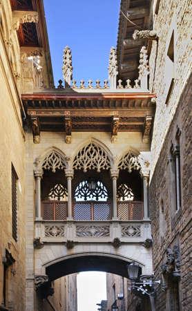 carrer: Carrer del Bisbe in Gothic Quarter. Barcelona. Spain