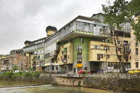 sarajevo: Embankment of the Miljacka River in Sarajevo. Bosnia and Herzegovina