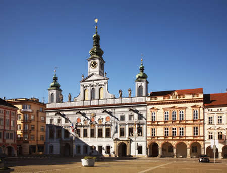 budejovice: Townhouse at Ottokar II square in Ceske Budejovice. Czech Republic Stock Photo