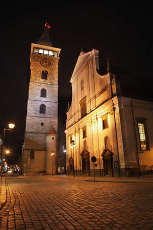 budejovice: Black Tower and St. Nicholas Cathedral in Ceske Budejovice. Czech Republic