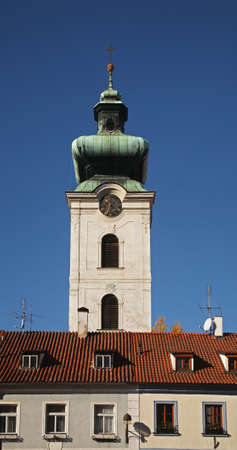 budejovice: Belfry of church of Presentation of Blessed Virgin Mary in Ceske Budejovice. Czech Republic Stock Photo