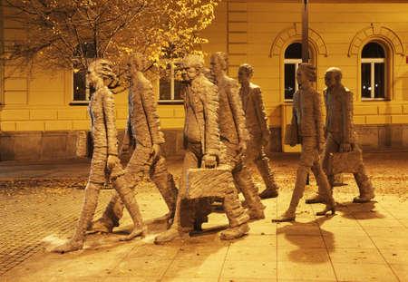 ceske: Humanoidi - Humanoids sculpture in Ceske Budejovice. Czech Republic