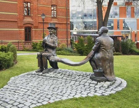 Monument to Makuszynski and Walentynowicz in Opole. Poland