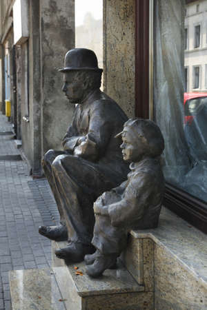 Monument to Charlie Chaplin in Chelmza. Poland