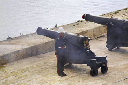 saluting: Saluting battery in Valletta. Malta Editorial
