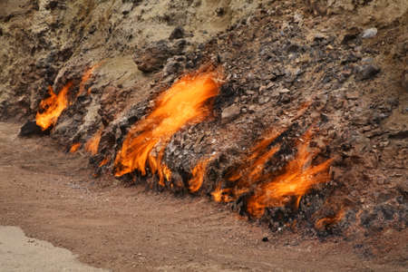 Burning mountain in Yanar Dag near Baku. Azerbaijan