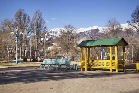 ata: Park in Cholpon-Ata. Kyrgyzstan