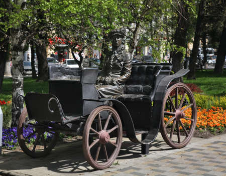 Sculpture of lady in carriage. Novorossiysk. Krasnodar region. Russia Stock Photo