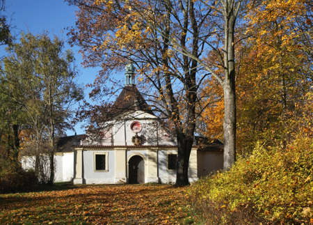 dolorous: Chapel of Our Lady Dolorous on Mountain of Cross in Cesky Krumlov. Czech republic Stock Photo