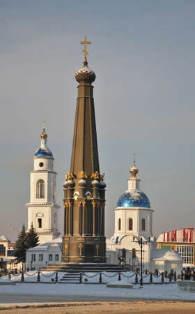 Monument of Glory and Church of Kazan icon of Our Lady in Maloyaroslavets. Kaluga oblast. Russia
