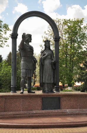 Monument to Vladimir Vasilkovich and Olga Romanovna in Kobryn. Brest Region. Belarus Editorial