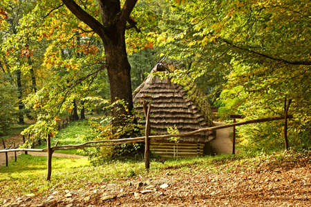 Old house in museum of folk architecture in Sanok. Subcarpathian voivodeship. Poland