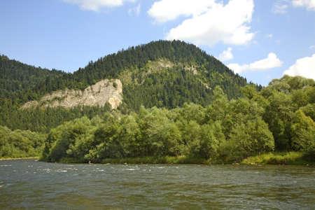 Dunajec river and Pienin Mountains. Poland