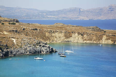 Bay of St. Paul in Lindos. Rhodes island. Greece